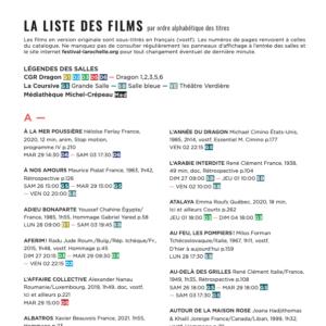 Liste des films (avec horaires)